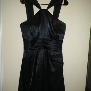 Y Neck Charmeuse Dress with Bubble Hem